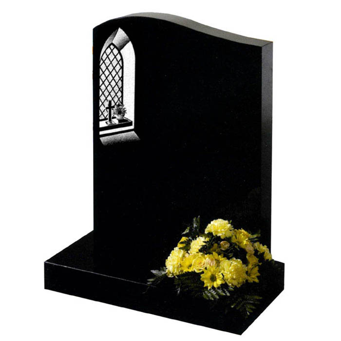 Black Granite half ogee headstone