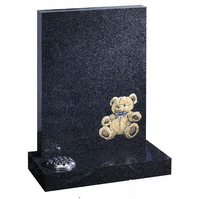 Dark grey granite square shaped memorial