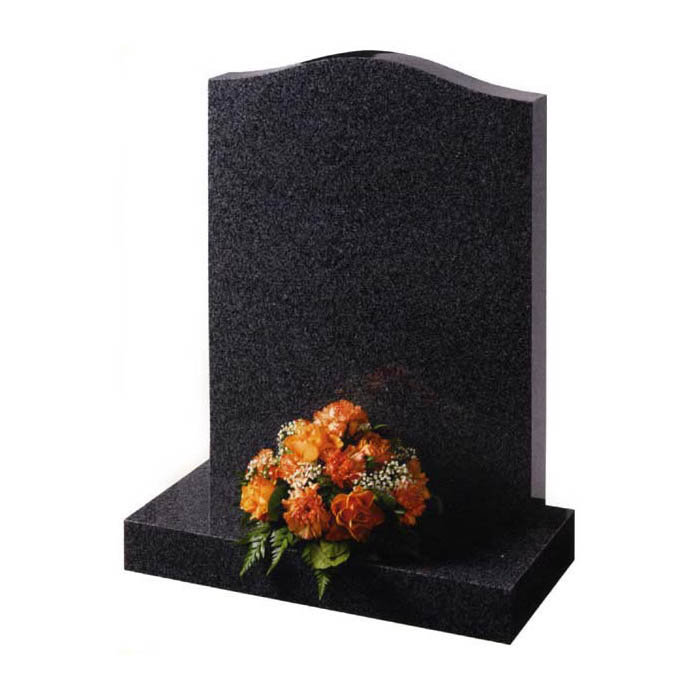 Dark grey standard ogee shaped gravestone