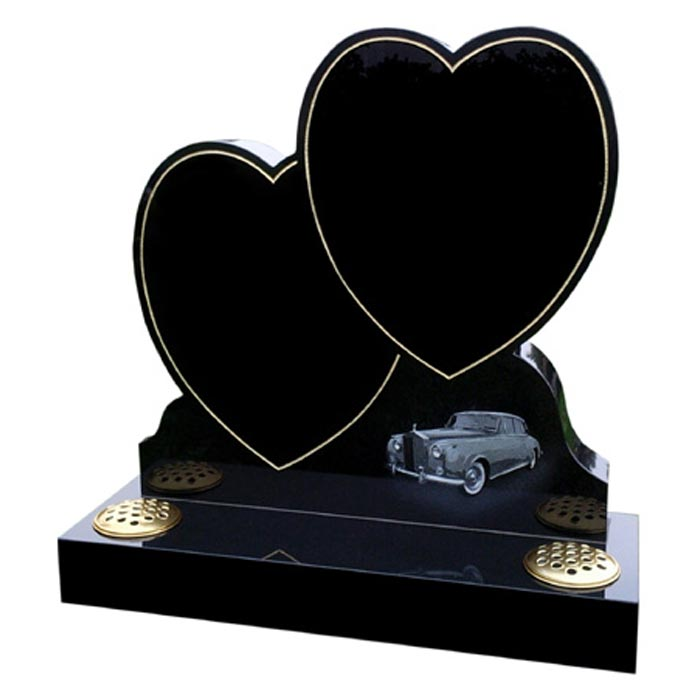 Double Heart Headstone in black granite