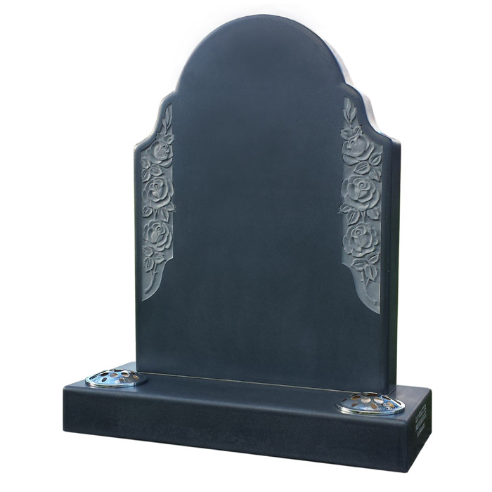 Honed Black granite Roystone memorial with tactile rounded edges