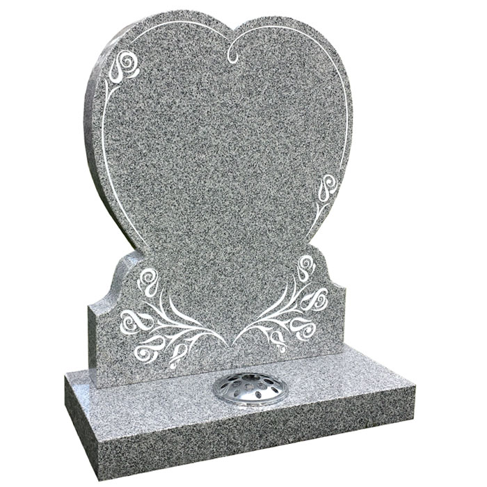 Silver Grey granite heart with stylised rose design