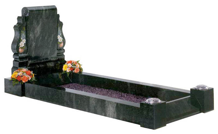 Kerala green granite Stamford headstone and kerbset